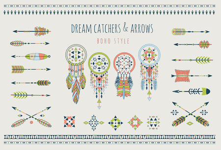 aztec: Set of arrows, dream catchers, Indian elements. Vector tribal elements. Aztec logos and badges. Illustration