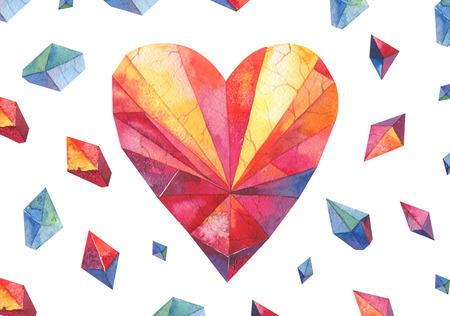 heart diamond: polygon watercolor heart .Diamond shape.Valentine day design Stock Photo