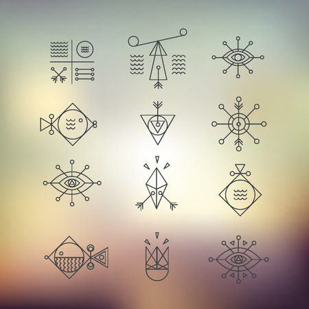 Line shapes geometry. Alchemy, religion, philosophy, spirituality, hipster symbols and elements. polygon style with geometric shapes. Hipster and retro style. Perfect for your business design. 向量圖像