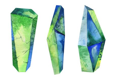 gem: Watercolor crystal, mineral, gem set. Hipster illustration for your design Stock Photo