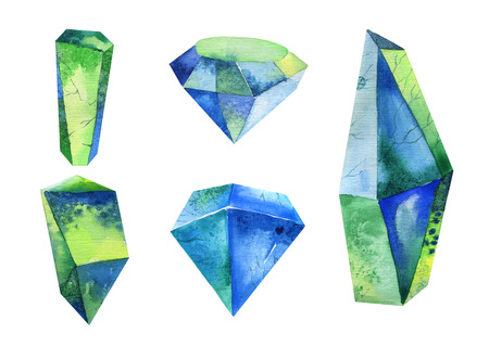 Watercolor crystal, mineral, gem set. Hipster illustration for your design Reklamní fotografie