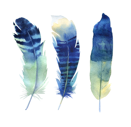 watercolor pen: Hand drawn watercolor feather set. Boho style. illustration isolated on white. Design for T-shirt, invitation, wedding card.Rustic Bright colors.