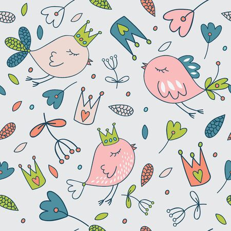 farytale: Seamless floral pattern. Spring illustration of cute bird and flower.Farytale design for your love card, invitation, children or wedding DIY Illustration
