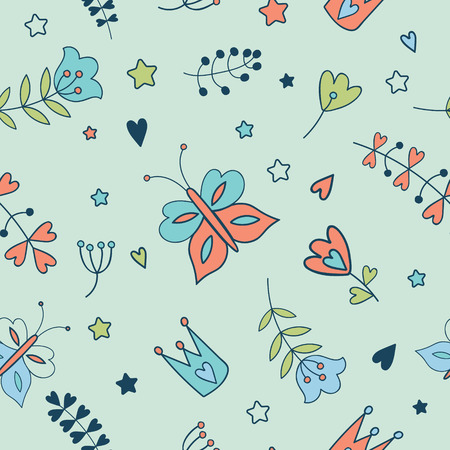 farytale: Seamless floral pattern. Spring illustration of cute butterfly  and flower.Farytale design for your love card, invitation, children or wedding DIY
