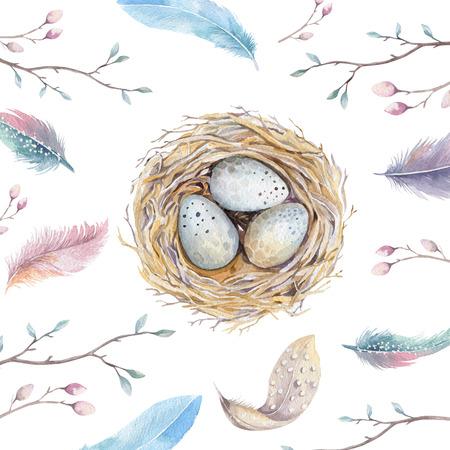 Hand drawn watercolor art bird nest with eggs , easter design.  retro style, watercolour  isolated illustration on white. natural boho style. Main motive nest, quail,  thrush, birth, tree. Archivio Fotografico