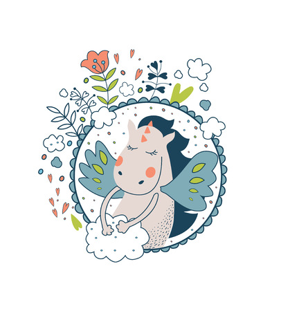 belive: Cute magic collection with gragon,fairy wings, flowers, cloud  and keys. Isolated floral illustration on white. Fairytale design for your love card, invitation, children or wedding DIY. Magic pattern