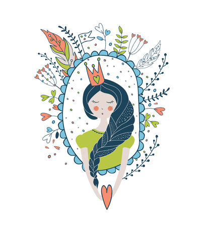 belive: Cute magic collection with princess. Dream Spring illustration of cute butterfly and flower. Fairy tale design for your love card, invitation, children or wedding DIY. Illustration