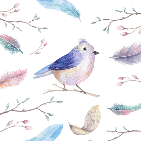 autumn garden: Hand drawing watercolor flying cartoon bird witm leaves, branches and feathers.Watercolour art illustration in vintage boho style. Stock Photo