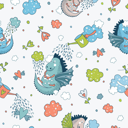 dinosaur cute: Cute  funny seamless pattern.  hand drawn doodle design baby shower cards, brochures, invitations with fanny animals, star, with dragons, dinosaur, diamonds, cloud, rain drops, flowers. Cartoon animals background. Child wallpaper decoration.