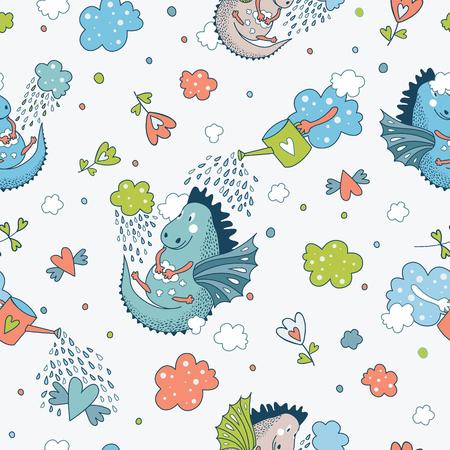 bebes niñas: Modelo inconsútil lindo divertido. tarjetas dibujadas a mano de la ducha del bebé del diseño del doodle, folletos, invitaciones con animales de cintura, estrella, con dragones, dinosaurios, diamantes, nubes, gotas de lluvia, las flores. Animales de la historieta de fondo. la decoración del papel pintado infantil. Vectores