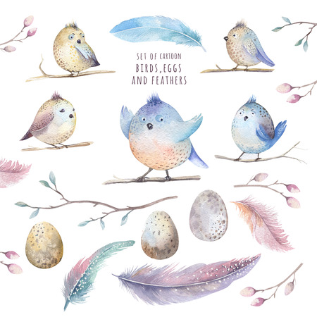 tweeting: Hand drawing watercolor flying cartoon bird witm leaves, branches and feathers.Watercolour art illustration in vintage boho style. Stock Photo