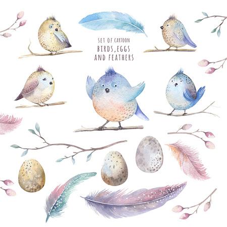 pajaro caricatura: hojas de dibujo a mano WITM pájaro de dibujos animados de la acuarela de vuelo, ramas y arte de la ilustración en el estilo boho feathers.Watercolour vendimia.