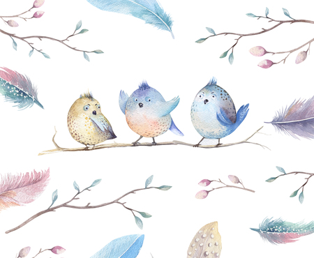 Hand drawing watercolor flying cartoon bird witm leaves, branches and feathers.Watercolour art illustration in vintage boho style. Stock Photo