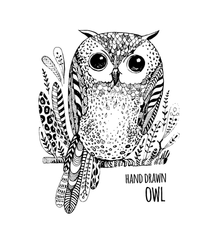 owls: Hand drawn illustration bird. Art Coloring book for adult.Cute Owl black and white sketch