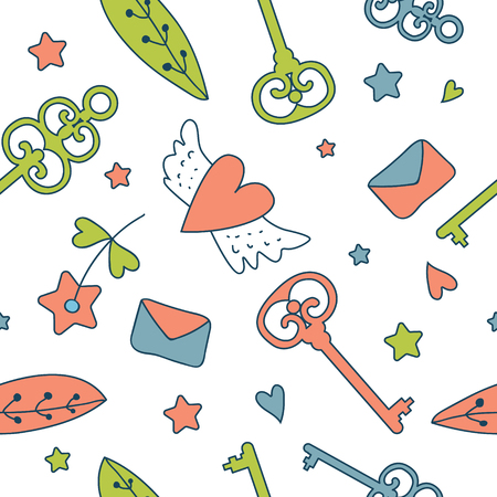 belive: Seamless floral pattern isolated on white cute keys, letters, hearts, cakes , stars and flower. Fairy-tale design for your love card, invitation, children or wedding DIY. Dream. Fantasy.Magic.