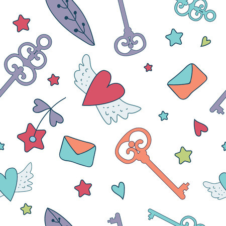 belive: Seamless floral pattern isolated on white cute keys, letters, hearts, cakes , stars and flower. Fairy tale design for your love card, invitation, children or wedding DIY. Dream. Fantasy.Magic.