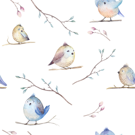 fabric design: Watercolor  spring  rustic pattern with nest, birds, branch,tree twigs and , feathers. Watercolor seamless  hand drawn spring background. Vintage, boho wallpaperfor your  fabric design, wallppaper, weddig card.