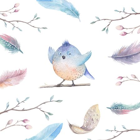 tweeting: Hand drawing watercolor flying cartoon bird with leaves, branches and feathers. Watercolor art illustration in vintage boho style.