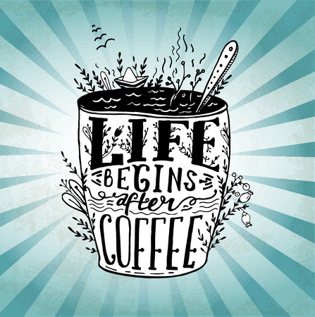 wallpapper: Phrase Life begins after coffee mug card. handdrawn sketch Lettering on coffee cup shape. Modern calligraphy style quote about coffee.Element for your poster, labe or wallpapper print