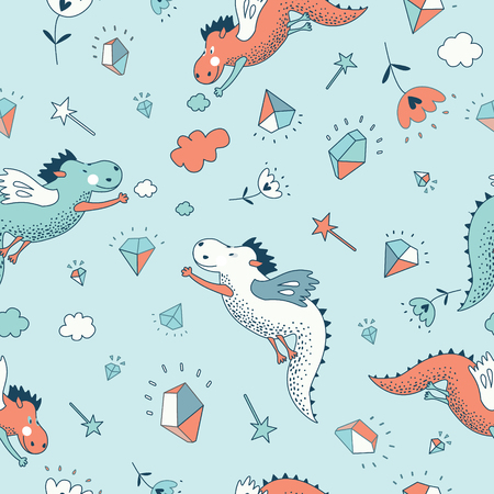 dinosaur cute: Cute  funny  seamless pattern. Cute hand drawn doodle design baby shower cards, brochures, invitations with fanny animals, star, with dragons, dinosaur, diamonds, cloud, rain drops, flowers. Cartoon animals background. Child wallpaper decoration. Illustration