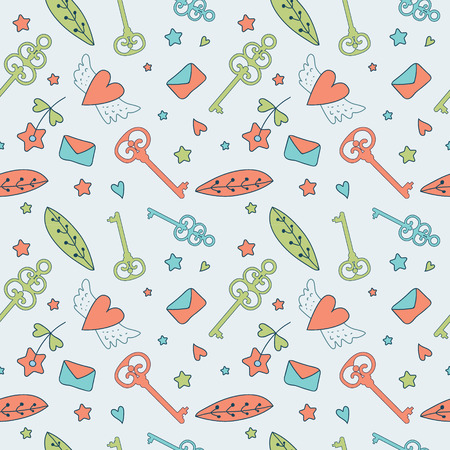 farytale: Seamless floral pattern. Love illustration of cute keys, letters and flowers. Fairytale princess design for your love card, invitation, children or wedding DIY Stock Photo