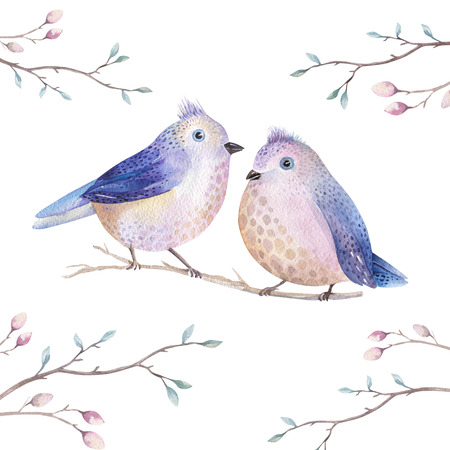 painted: Hand drawing watercolor flying cartoon bird witm leaves, branches and feathers.Watercolour art illustration in vintage boho style. Stock Photo