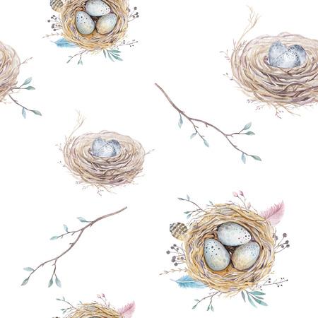 oiseau dessin: Aquarelle naturelle seamless floral vintage avec des nids, des couronnes, des ?ufs et de plumes. Art d�coration oiseau illustration.Boho papier peint style impression.