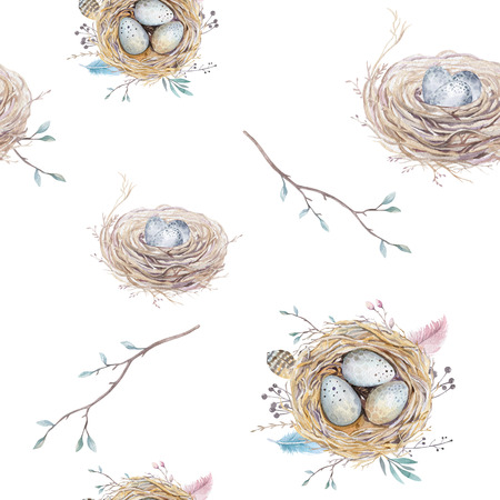 Watercolor natural floral vintage seamless pattern with nests,wreath, eggs and feathers . Art decoration bird illustration.Boho style wallpaper print.