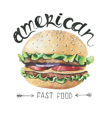 delicacy: Watercolor illustration with fast food . Poster with hand-drawn sketch of burger. paint  American style. sandwiches, Hamburger. Isolated on white background.