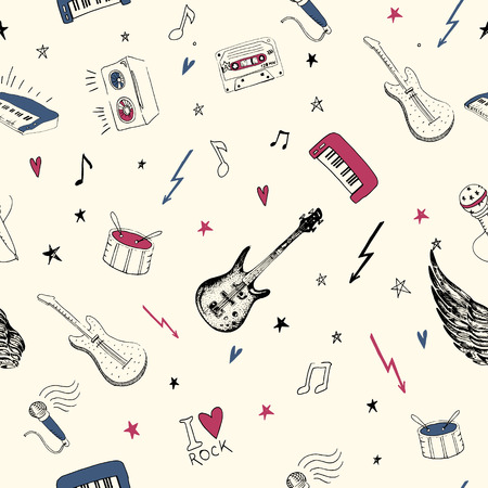 pattern rock: Music symbols. Seamless pattern. rock music background textures, musical hand drawn doodle style.