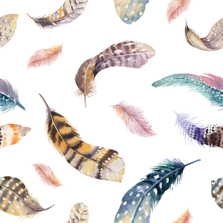 painting art: Feathers repeating pattern. Watercolor background with seamless illustration. Watercolour color organic design. Seamless  boho texture with hand drawn feathers.  Bright colors.