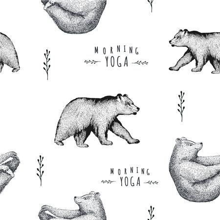 oso: Modelo inconsútil del vector de un oso divertido aislado en el fondo blanco. Imprimir la postura de la práctica de la mañana asana pranayama yoga pose. espíritu de caracteres gráficos. pose de media embarcación Vectores