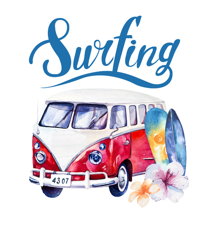 adventure holiday: Hand drawn watercolor ocean surfing set. Beach holiday tropical travel adventure. Island with palm, retro car,  wagon, bus, surfboard, sunglasse, shell and flower hibiscus. Watercolour sea sport activity.