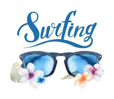 ibiscus: set acquerello disegnato a mano oceano surf. vacanza al mare tropicale avventura di viaggio. Isola con la palma, auto retr�, carro, autobus, tavole da surf, sunglasse, conchiglia e fiori di ibisco. Acquerello attivit� sportiva mare.