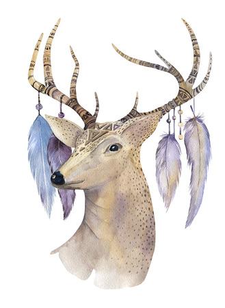 indios americanos: dibujado a mano acuarela ciervos azteca. flechas étnicas en el estilo americano nativo. Gráfico de la acuarela. Tribal Navajo aislados ilustración ornamento en blanco. India, envoltura Perú