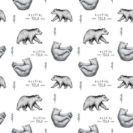 pranayama: Seamless pattern of fun  bear isolated on white background. Print posture of morning practice pranayama asana pose yoga. Spirit graphic character. Half-boat pose