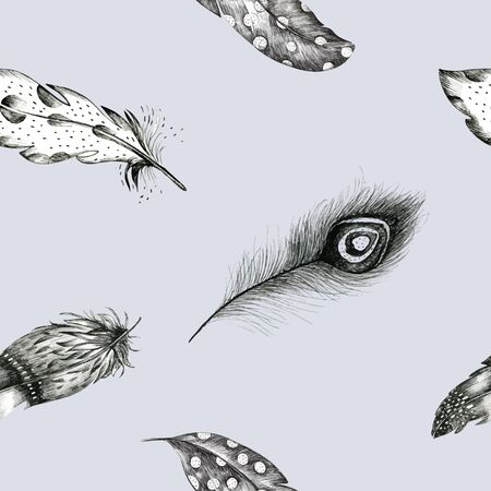 graphic arts: Vintage seamless graphic pattern with hand-drawn feathers. Flying  boho birds fashion arts. Wallpaper decoration animals decor. Nature element