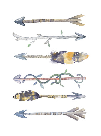 tomahawk: Watercolor aztec boto  arrows set with Hand Painted Leaves and feathers.Watercolour isolated on white background. america tribal eco natural decoration print. Indian weapon, tomahawk