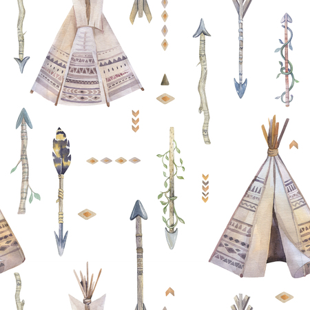 teepee: Watercolor boho seamless pattern with teepee, arrows, feathers.  Decoration native tribal print. Aztec tomahawk ethnic design. Watercolour art children wallpaper. Isolated on white. Stock Photo
