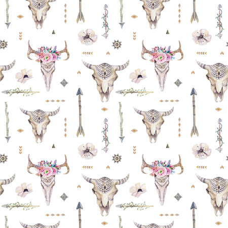 Watercolor boho seamless pattern with teepee, arrows, feathers, cow skull.  Decoration native tribal print. Aztec tomahawk ethnic design. watercolour art wallpaper. Isolated on white