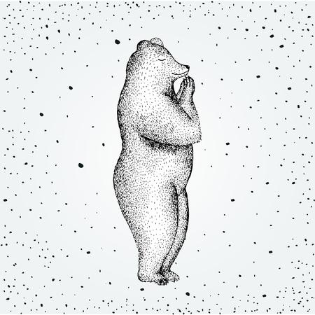 pranayama: Illustration of fun a bear isolated on vintage background. Print posture morning practice pranayama asana pose yoga Illustration