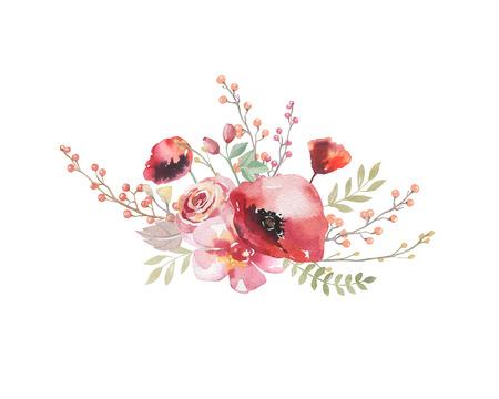 Akwarela vintage kwiatowy bukiet. Boho wiosennych kwiatów i liści ramki na białym tle: soczyste, gałęzie, liście, pióra, jagody, piwonia, róża. Ręcznie malowany wzór naturalny