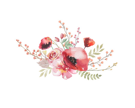 Watercolor vintage floral bouquet. Boho spring flowers and leaf  frame isolated on white background: succulent, branches, leaves, feathers, berries, peony, rose. Hand painted natural design Stockfoto
