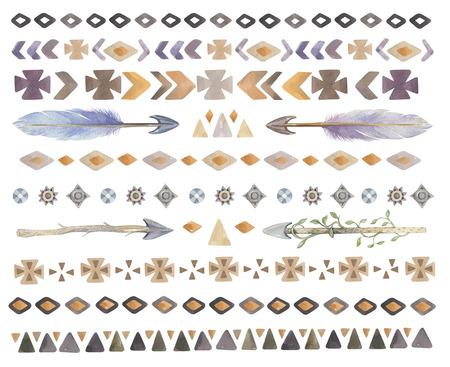 chic: Set of  watercolor tribal, ethnic, aztec, boho chic,  geometric elements, business label, navajo american stile isolated on white background.Watercolour indian traditional ornament. hippie print Stock Photo