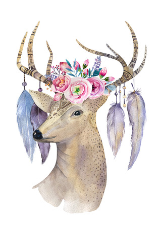 flower head: Deer hand painted watercolor illustration isolated on white background. Watercolour deer head with flowers, arrows and feathers.Decoration mammal. Save the date card.bohemian, hipster animal. T-shirt graphics Stock Photo