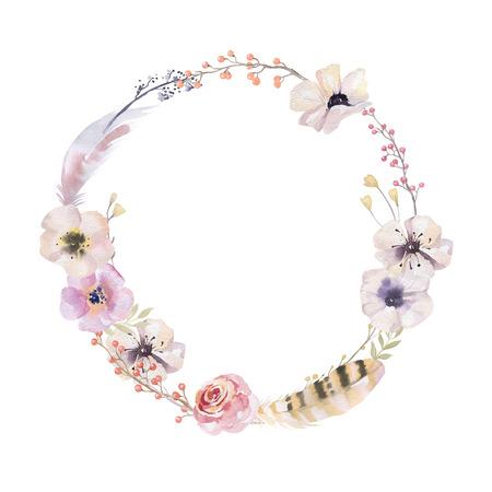 Watercolor bloemen krans. Aquarel natuurlijke frame: bladeren, veren, bloemen, vogels. Geïsoleerd op een witte achtergrond. Artistieke decoratie illustratie. Sparen de datum, weddign ontwerp, wenskaart