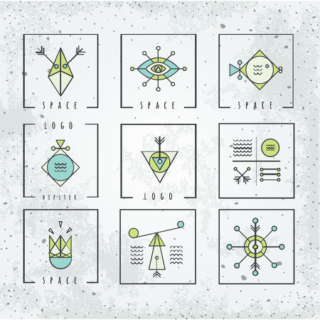 spirituality: Line shapes geometry. Alchemy, religion and philosophy. spirituality, hipster symbols and elements. polygon style with geometric shapes.