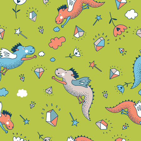 wallpaper doodle: Cute  funny seamless pattern.   doodle design baby shower cards, brochures, invitations with fanny animals, star, with dragons, dinosaur, diamonds, cloud, rain drops, flowers. Cartoon animals background. Child wallpaper decoration.
