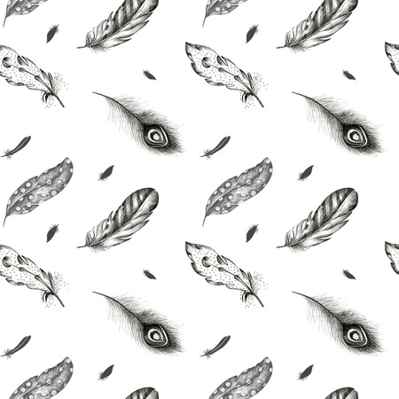 graphic arts: Vintage seamless  graphic pattern with  feathers. Flying  boho birds fashion arts. Wallpaper decoration animals decor. Nature element