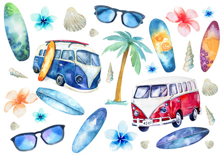 Hand drawn watercolor ocean surfing set. Beach holiday tropical travel adventure. Island with palm, retro car,  wagon, bus, surfboard, sunglasse, shell and flower hibiscus. Watercolour sea sport activity.